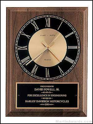 Clock Plaque Award - American Walnut Wall Clock Plaque Award