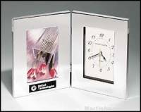 Desk Award - Combination Clock/Photo Frame in Polish Silver Aluminum