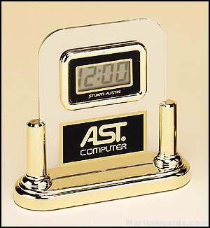 Desktop Clock Award – Acrylic Desk Clocks with Engravable Plate 1
