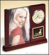 Clock Award - Rosewood Piano Finish Desk Clocks with Glass Picture Frame