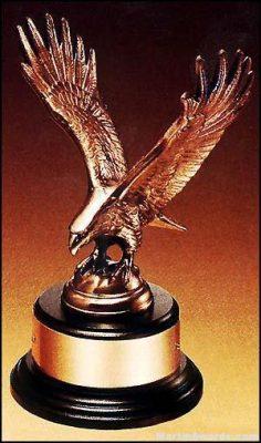 Eagle Award - Antique Bronze Cast Eagle Award with Black Round Base