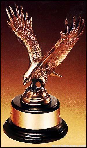 Eagle Award – Antique Bronze Cast Eagle Award with Black Round Base 1